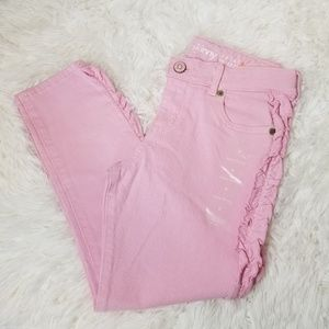 NWT Gymboree Pink Super Skinny Ruffle Sides Jeans